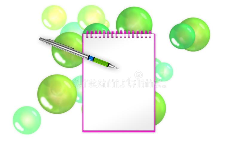 Blank book with green bubbles and spheres on background for greets adding. 3d illustration vector illustration