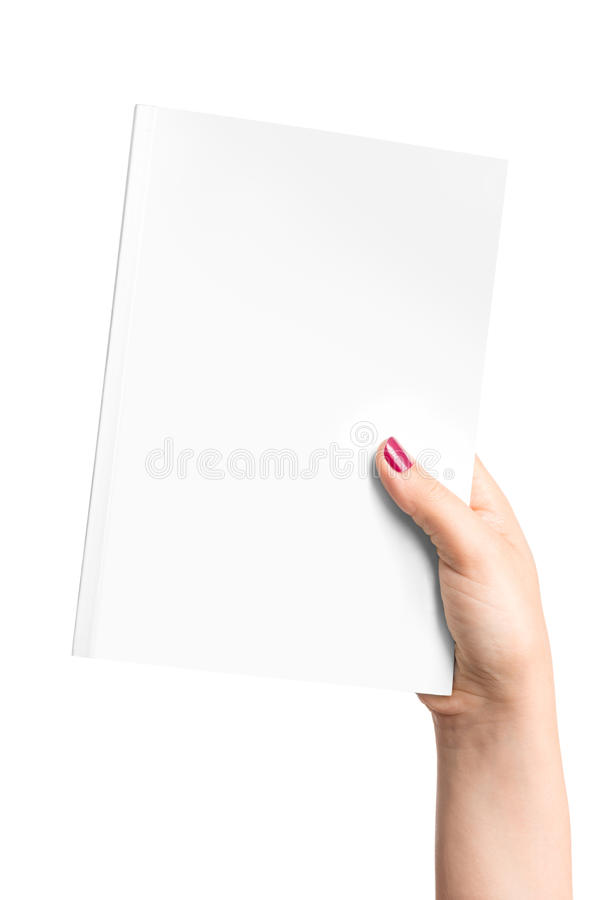 Blank book in hand. Blank book in female hand stock photography