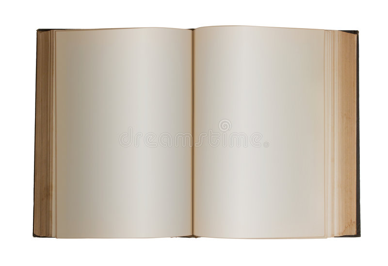 Blank Book, Isolated. Photo of a book edited for blank pages stock image