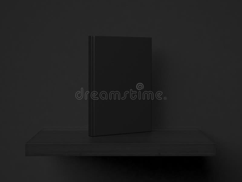 Blank book on a shelf. 3d rendering stock illustration