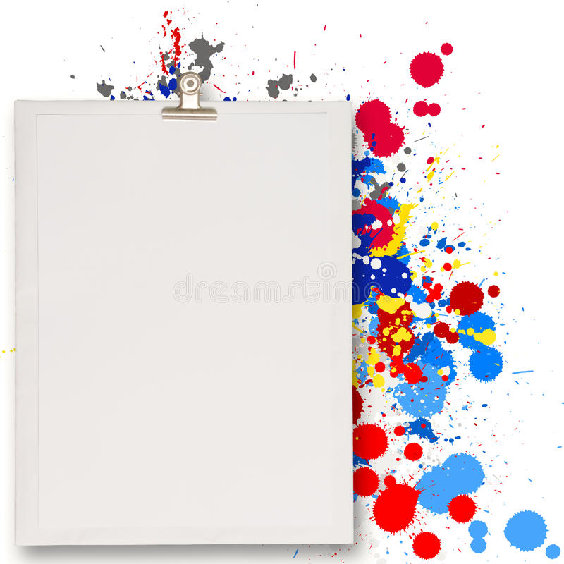 Blank book and splash colors choice stock illustration
