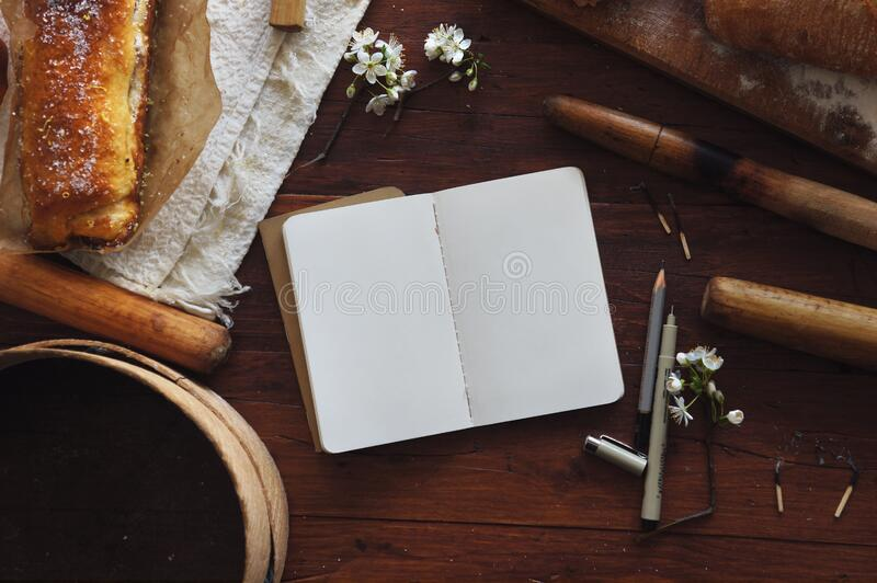 Blank book on table stock photography