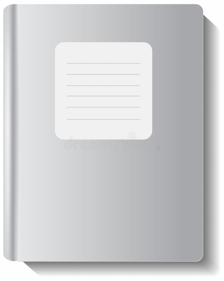 Blank book or writing-book cover. With shadow over white vector illustration