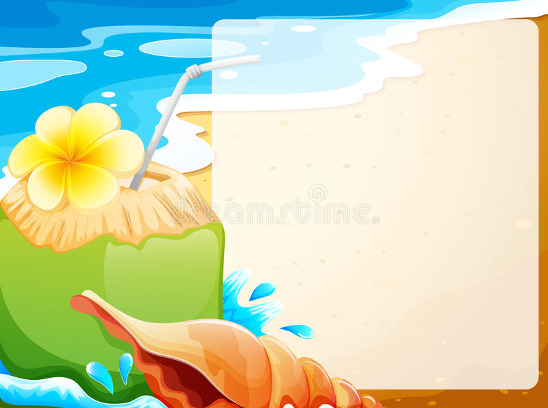 Blank border with coconut juice on beach background stock illustration