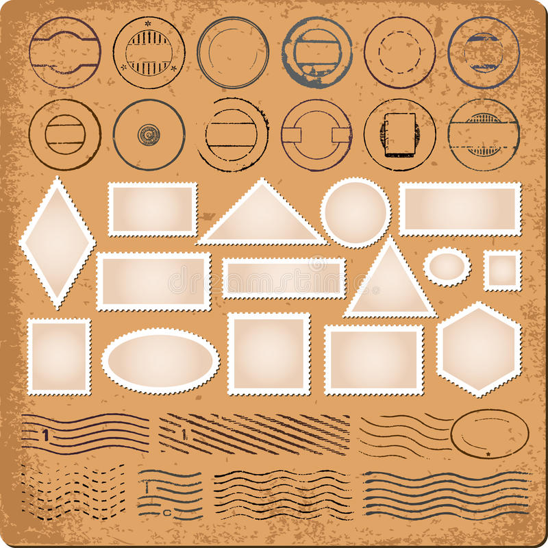 Blank borders and grunge rubber stamps royalty free illustration