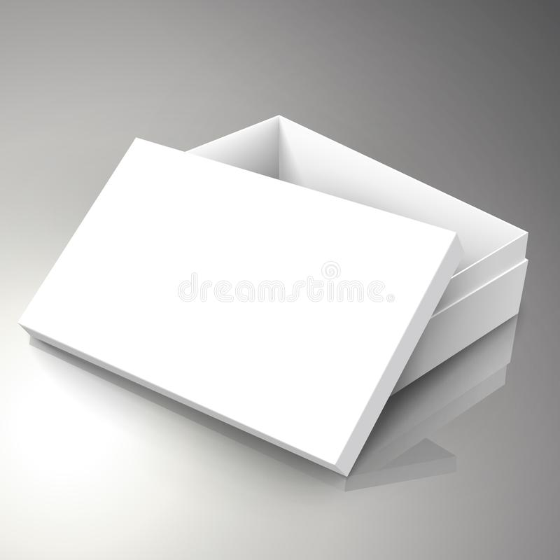 Blank box design. Blank white right tilt half open paper box with leaning separate lid 3d illustration, can be used as design element, isolated bicolor stock illustration