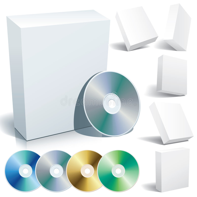 Blank box and dvd. Perfect blank boxes with DVD in a variety of positions. Set of design elements