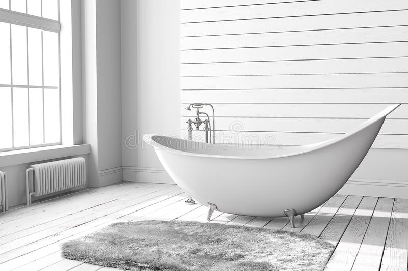 Blank bright bathroom stock images