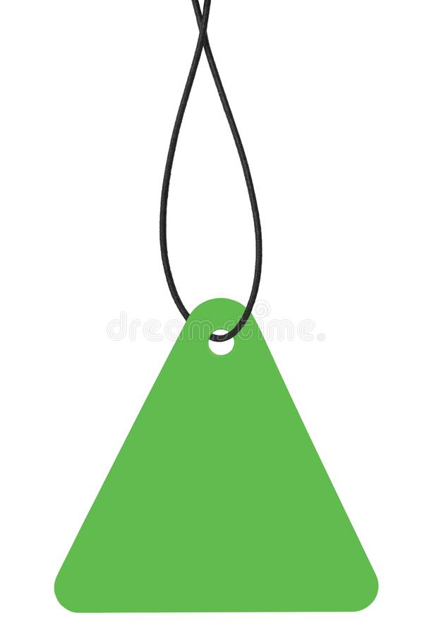 Blank Bright Green Cardboard Sale Tag And String, Empty Price Label Triangle Badge Background, Vertical Hanging Isolated Macro. Closeup Copy Space, Large stock photos