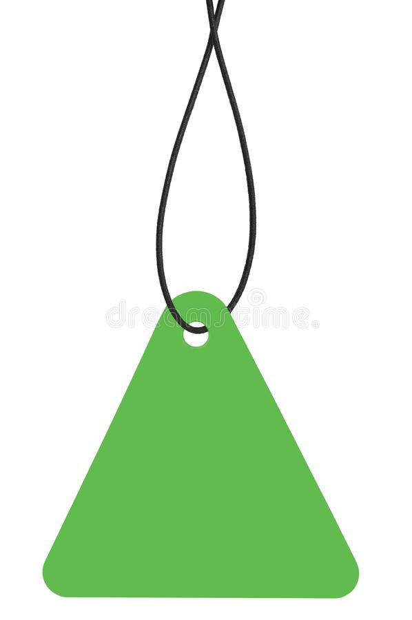 Blank Bright Green Cardboard Sale Tag And String, Empty Price Label Triangle Badge Background, Vertical Hanging Isolated Macro. Closeup Copy Space, Large stock photo