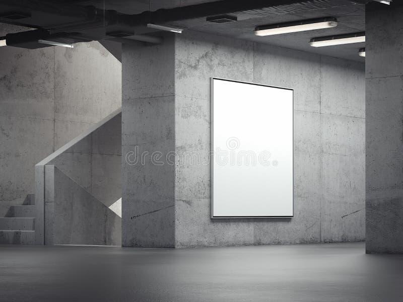Blank bright indoor billboard on the grey walls, 3d rendering stock illustration