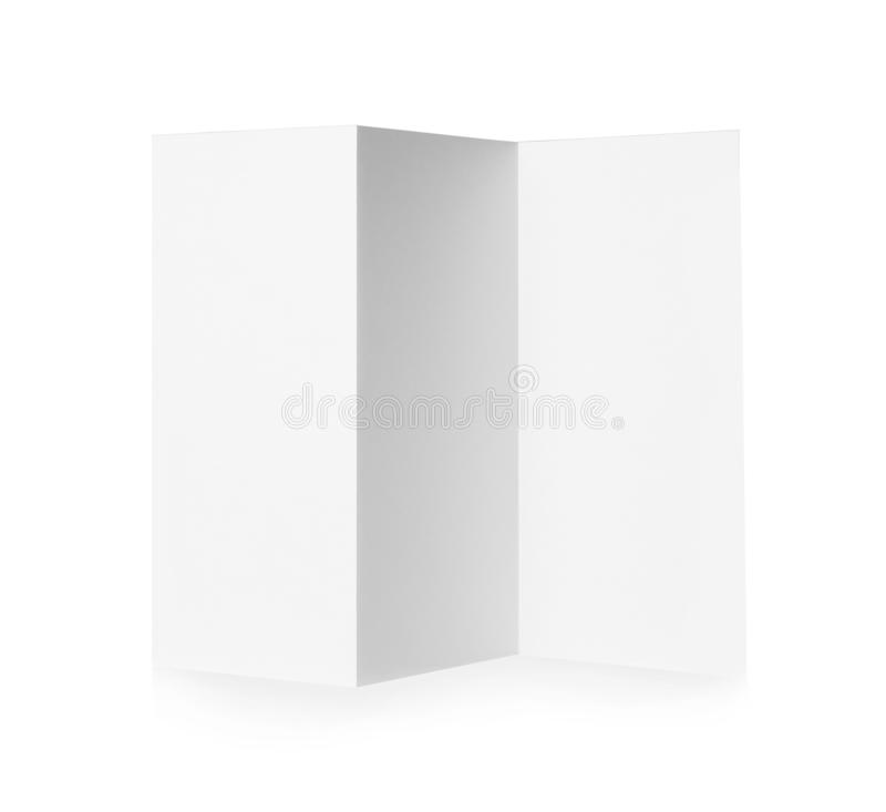 Blank brochure on background. Mock up for design. Blank brochure on white background. Mock up for design royalty free stock image