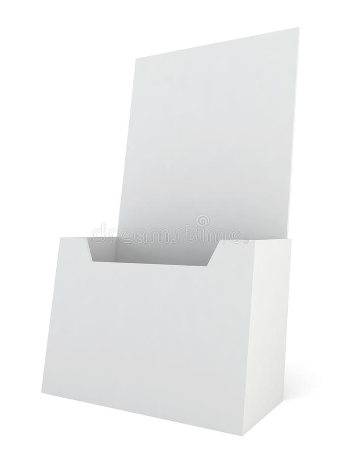 Blank brochure holder. 3d illustration on white background stock illustration