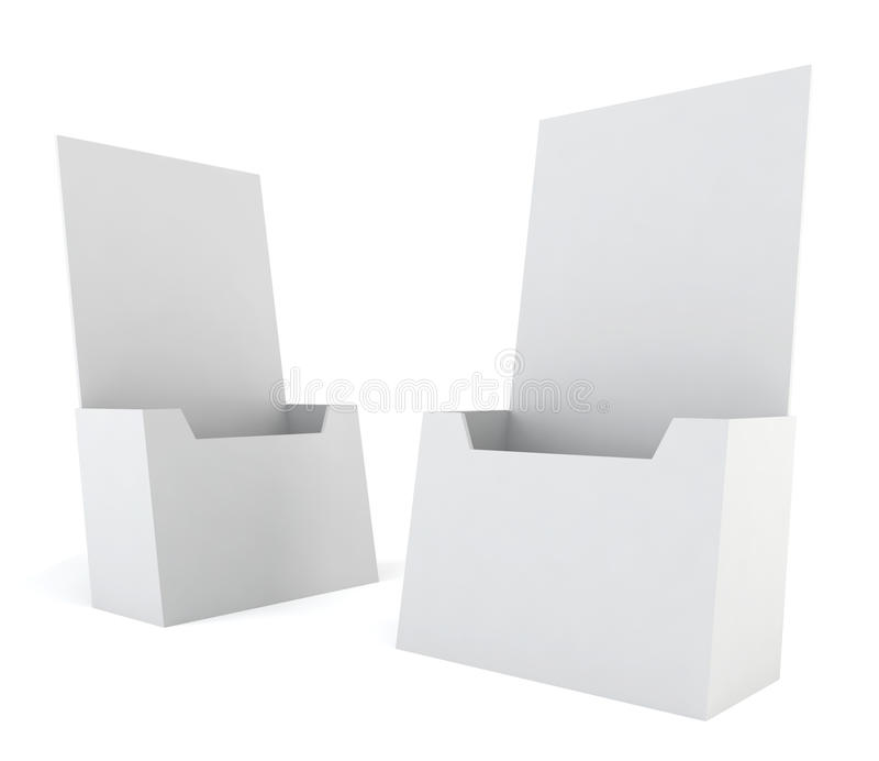 Blank brochure holder. 3d illustration on white background royalty free illustration