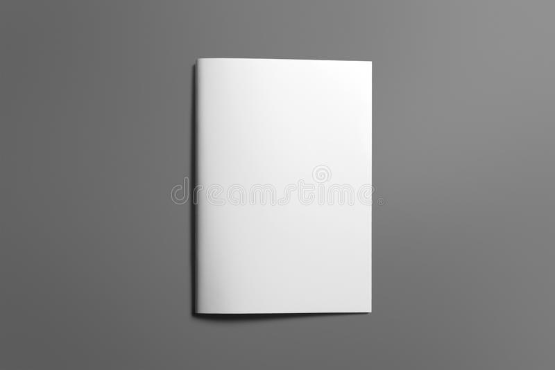 Blank Brochure magazine on grey to replace your design royalty free stock photo