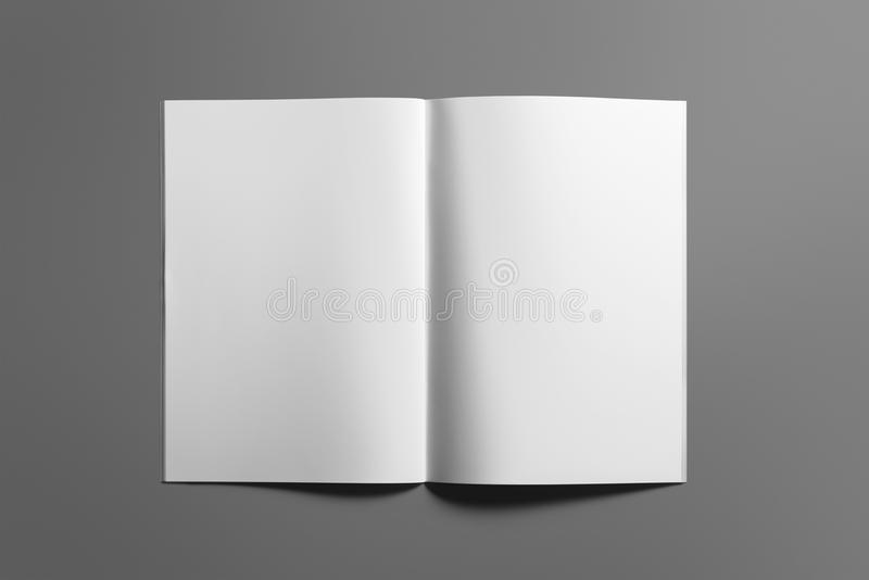 Blank Brochure magazine on grey to replace your design royalty free stock image