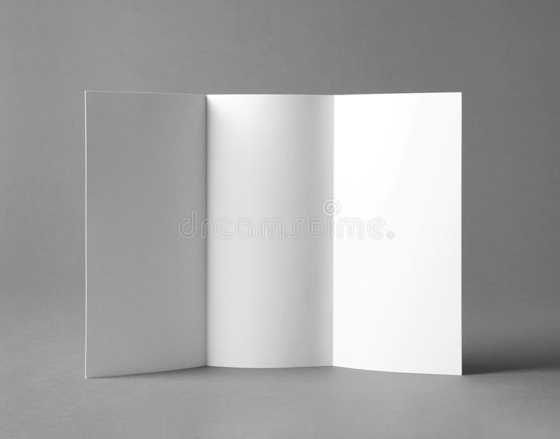 Blank brochure mock up. On color background royalty free stock photo