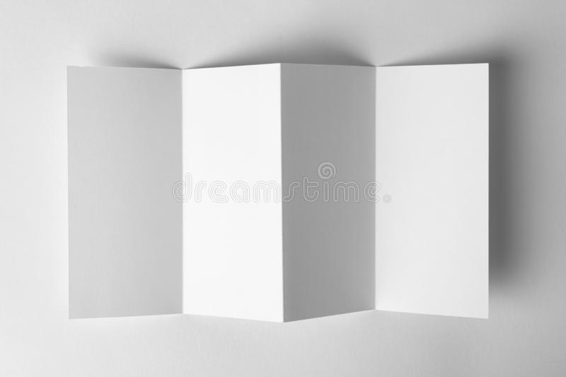 Blank brochure mock up on white background. Top view stock images