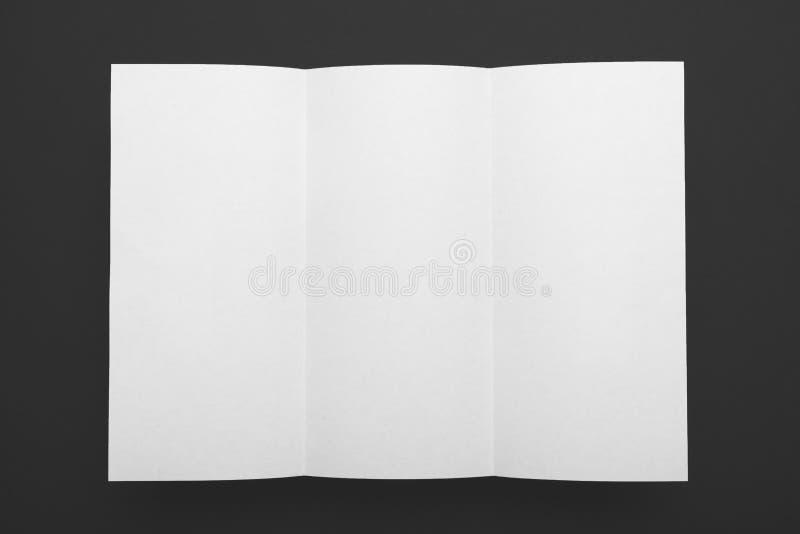 Blank brochure mockup, DL paper trifold flyer stock photo