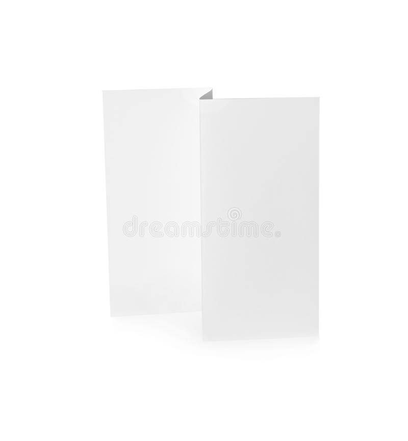 Blank brochure on background. Mock up for design. Blank brochure on white background. Mock up for design stock images
