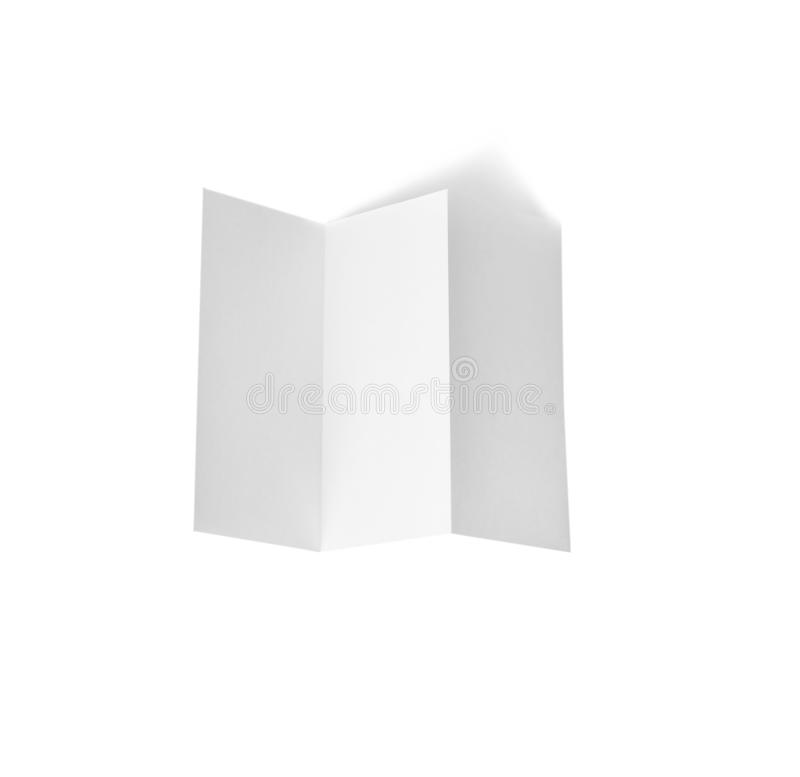 Blank brochure on white background. Mock up for design. Blank brochure on white background, top view. Mock up for design royalty free stock photography