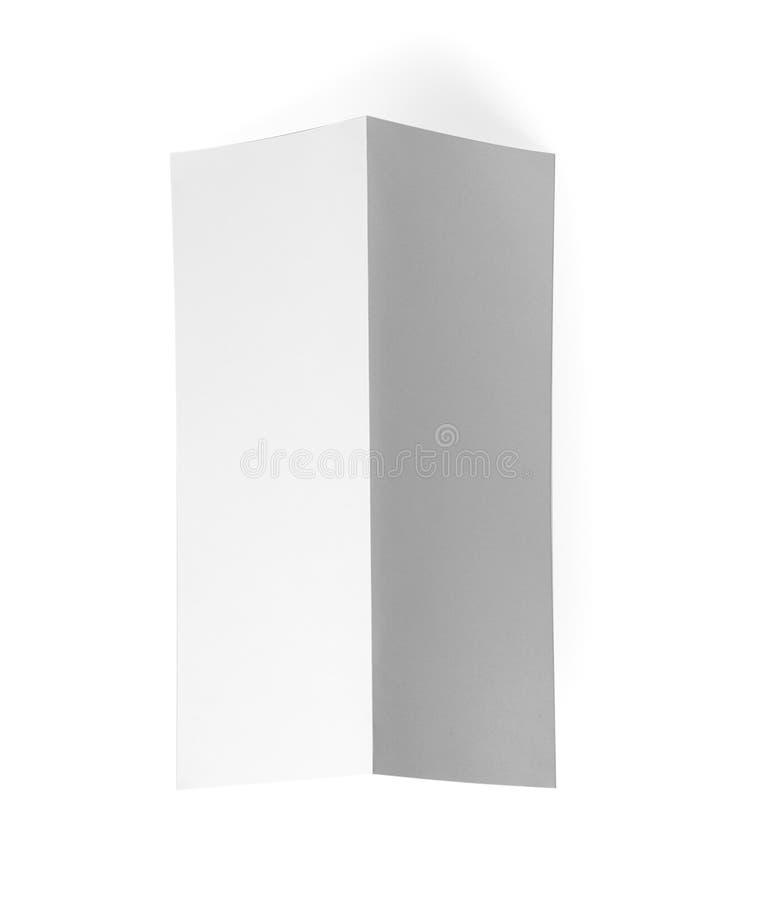 Blank brochure on white background. Mock up for design. Blank brochure on white background, top view. Mock up for design stock photo