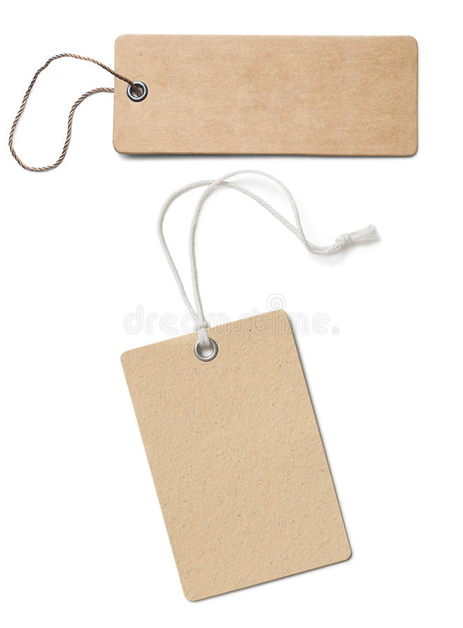 Blank brown cardboard price tags or labels set isolated royalty free stock image