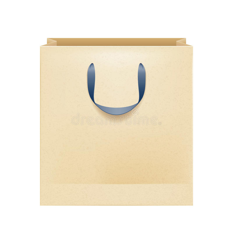 Blank brown paper bag with black handles. royalty free illustration
