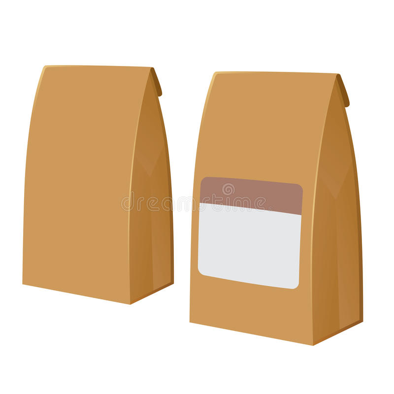 Blank Brown Paper Bags. Vector stock of two brown recyclable blank paper bags vector illustration