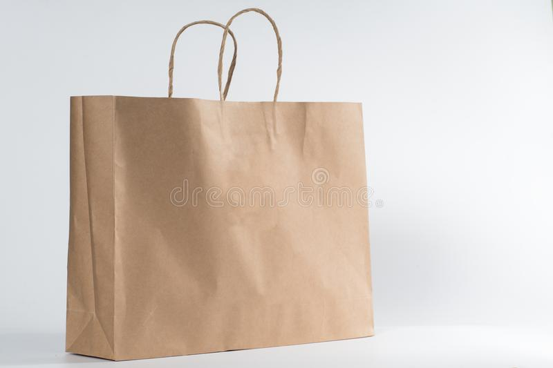 Blank brown paper shopping bag stock images