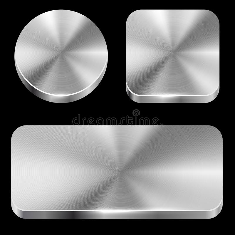 Blank brushed metal buttons. Isolated on black background template stock illustration