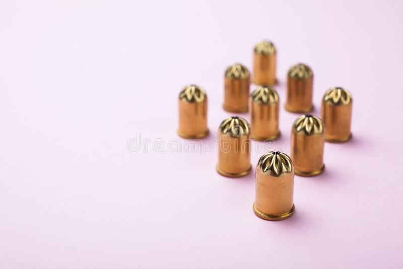 Blank bullets on a pink background. Copy space royalty free stock photo