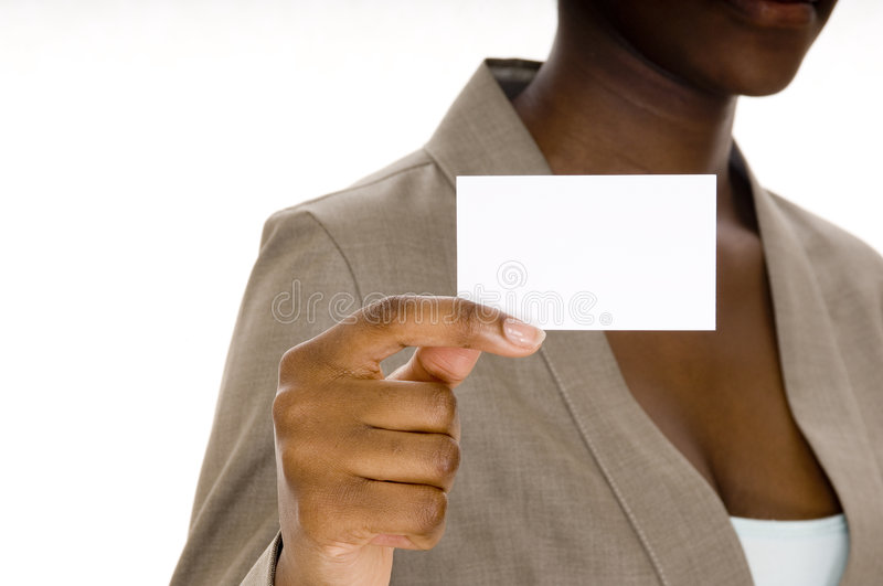 Blank Business Card. A young black woman holds up a blank business card stock photography
