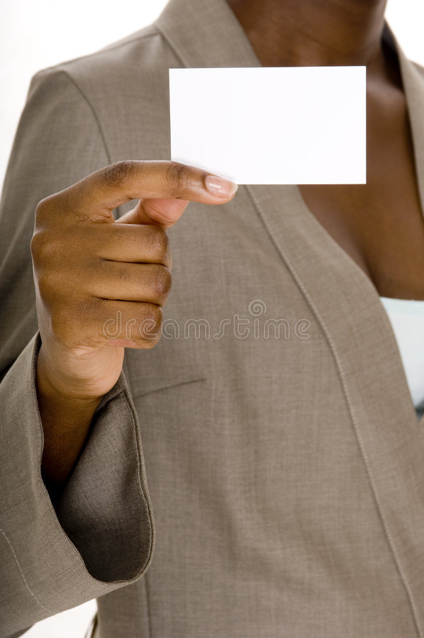 Blank Business Card. A young black woman holds up a blank business card stock photo