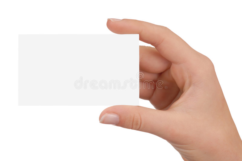 Blank Business Card. Hand holding blank business card isolated on white stock photo