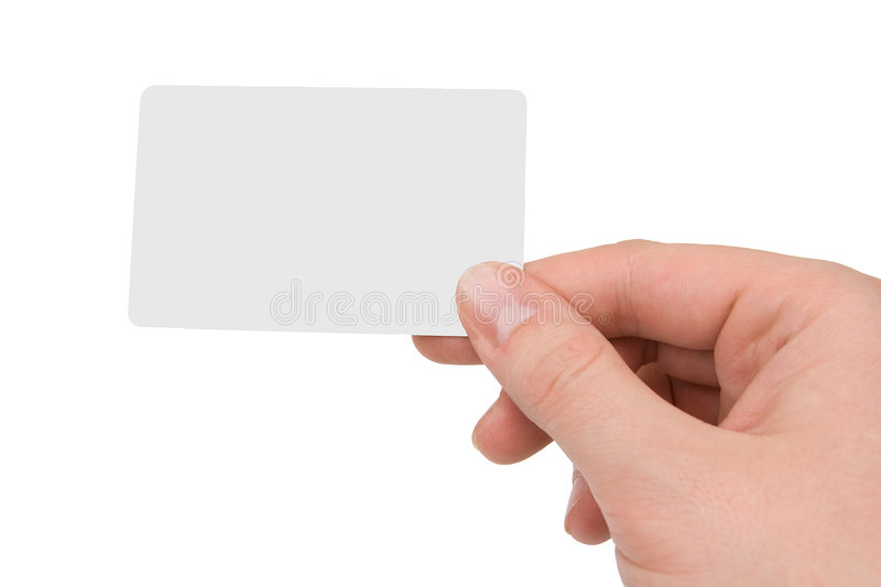 Blank Business Card. In human hand, isolated on white royalty free stock image
