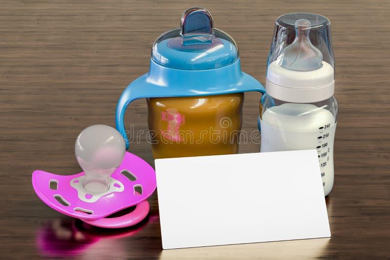 Blank business card for babysitter, nanny or baby shop on the wooden desk background. 3D rendering vector illustration