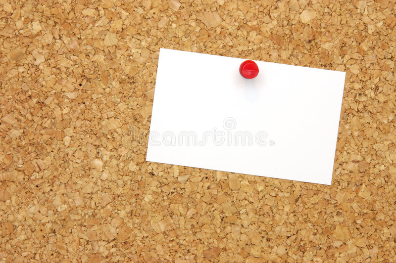 Blank business card on corkboard royalty free stock photo