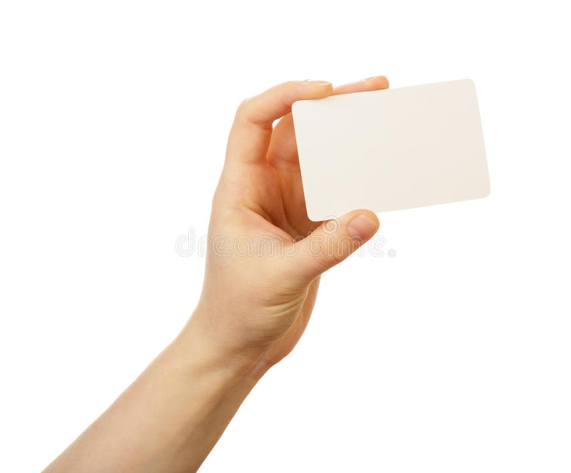 Blank business card in a female hand isolated on white backgroun. D royalty free stock photos