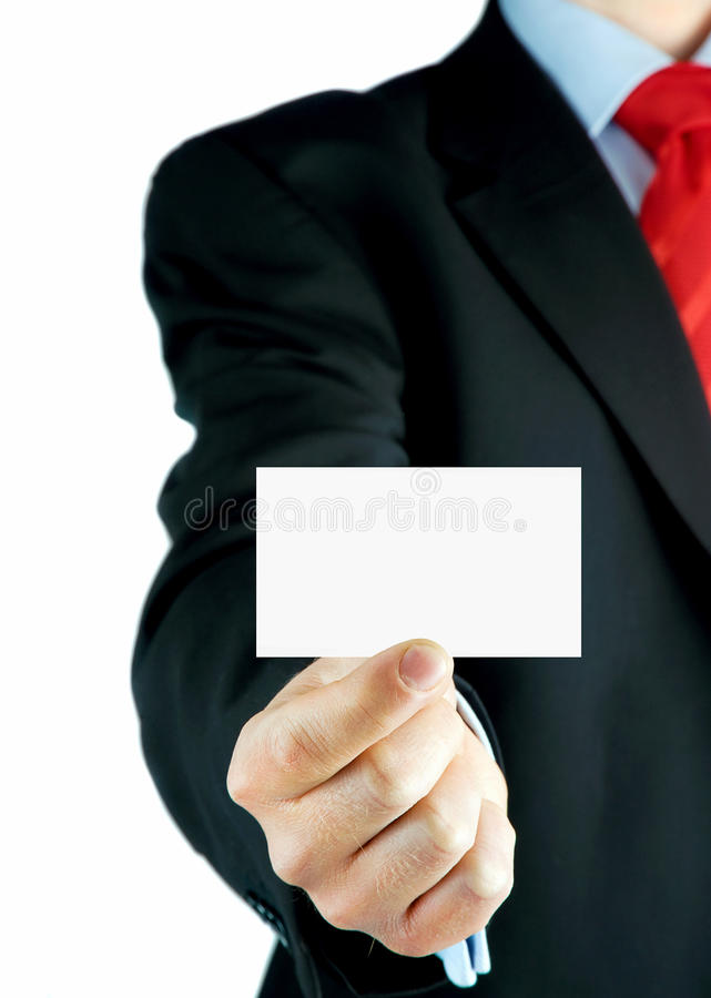 Blank Business Card In A Hand Royalty Free Stock Images