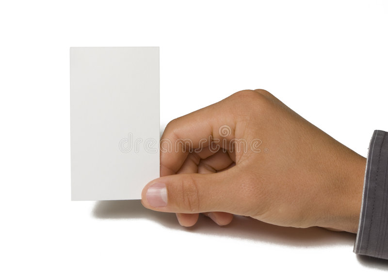Blank Business Card in Hand. On white background stock photo