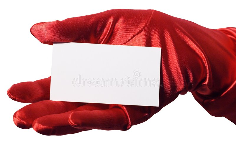 Blank Business Card Hers. Blank business card in elegant female hand gloved with sparkly red satin. Isolated stock images