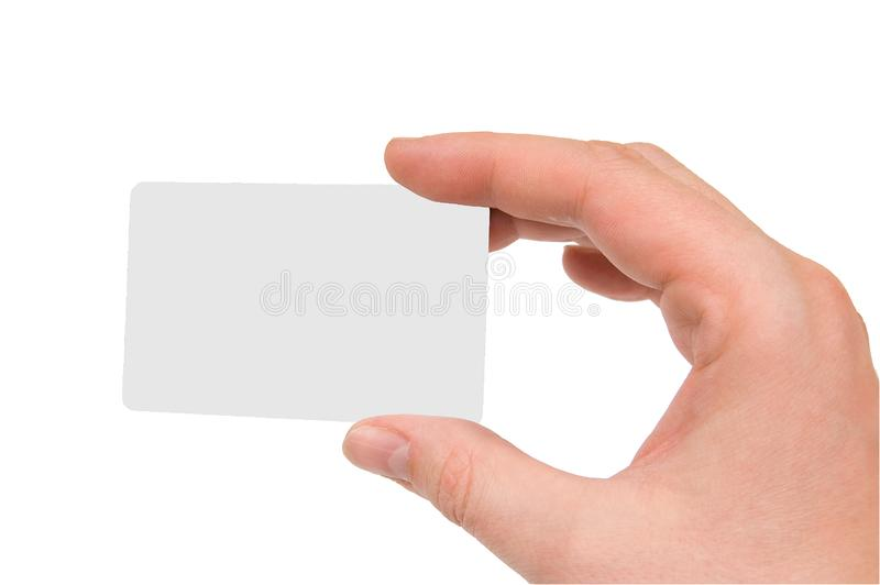 Blank business card in human hand stock image
