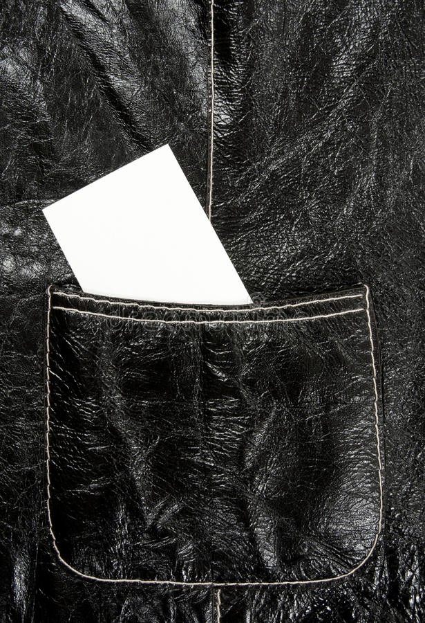 Blank Business Card In A Leather Pocket Stock Photo