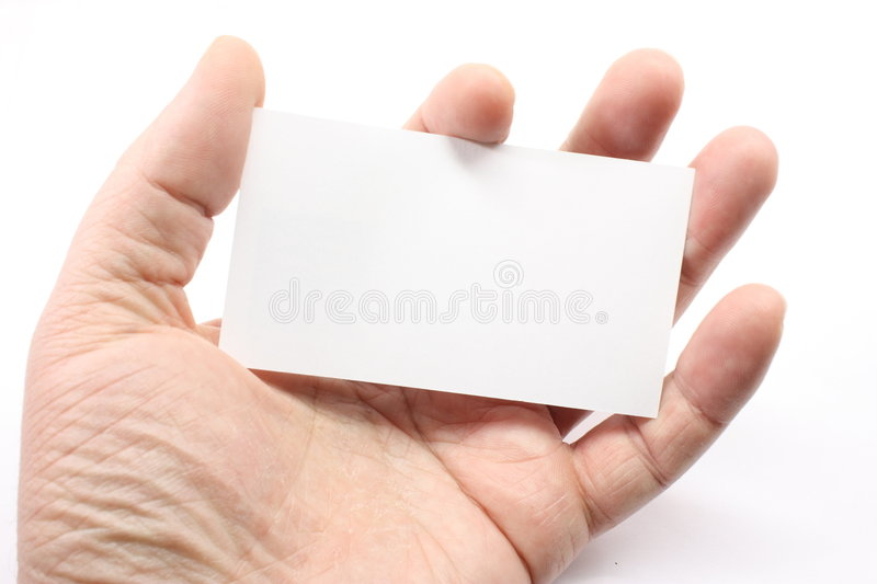 Blank Business Card in Palm. Of hand ready for your logo stock image