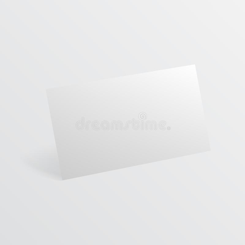 Blank business card with shadow template. Vector illustration. Blank horizontal plastic, paper business card royalty free illustration