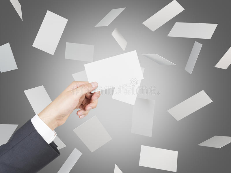 Blank Business Cards Flying Stock Image - Image: 65482443
