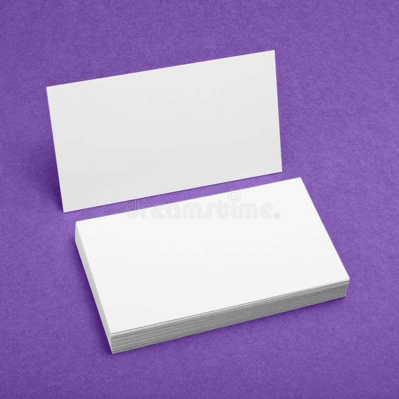 Blank Business Cards On Purple Background. Stock Photo - Image of ...