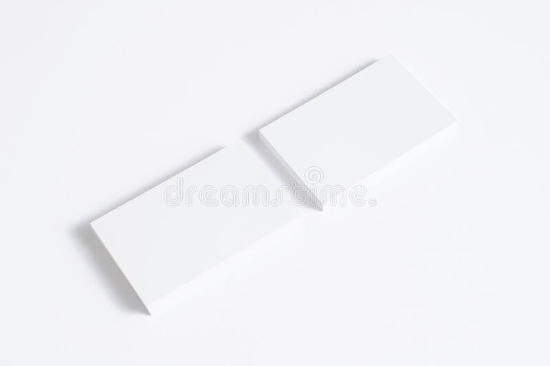 Blank business cards stack isolated on white. Mockup template for graphic designers presentations and portfolios. 3d render. Blank business cards stack isolated vector illustration