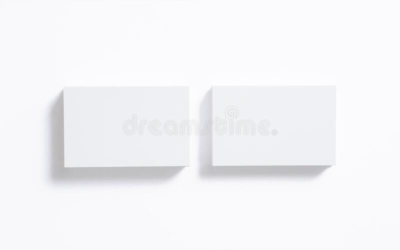 Blank business cards stack isolated on white. Mockup template for graphic designers presentations and portfolios. 3d render. Blank business cards stack isolated stock illustration